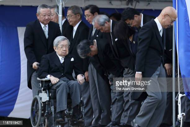 Prince Hitachi attends the ceremony two days before the start of the 'Daijosai' first harvest festival of the new emperor at the Daijogu Palace at...