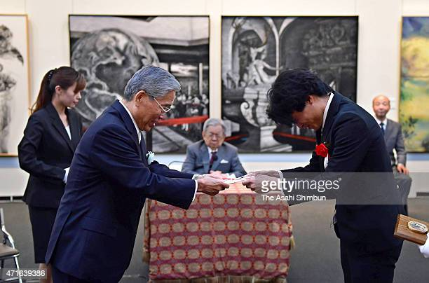 Prince Hitachi attends the reception of the 33rd Ueno Royal Museum Grand Prize Award Ceremony on April 28, 2015 in Tokyo, Japan.
