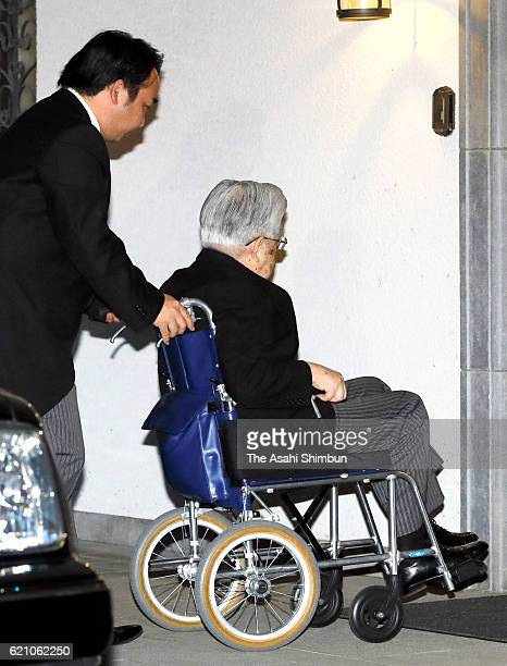 Prince Hitachi enters to attend the 'Reidai Anchi-no-Gi' for late Prince Mikasa at the prince's residence on November 3, 2016 in Tokyo, Japan. The...