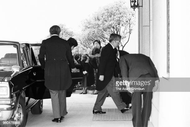 Prince Hitachi is seen on arrival at the residence of late Prince Takamatsu for the 100 days memorial ceremony of his death on May 13 1987 in Tokyo...