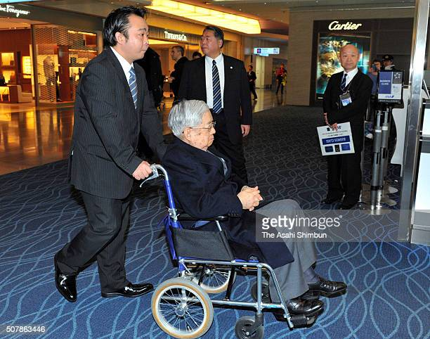 Prince Hitachi is seen on departure for Paris at the Haneda International Airport on January 31, 2016 in Tokyo, Japan. Prince Hitachi attends the...