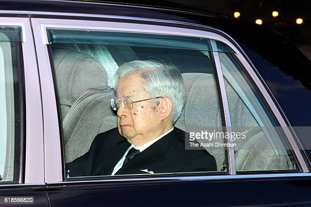 Prince Hitachi is seen on departure from the Akasaka Imperial Grounds after the condolence visit to Prince Mikasa's residence on October 27, 2016 in...