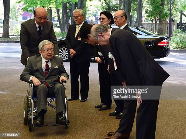 Prince Hitachi is welcomed upon arrival at the 33rd Ueno Royal Museum Grand Prize Award Ceremony on April 28, 2015 in Tokyo, Japan.
