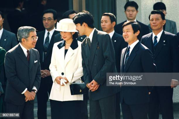 Prince Hitachi Princess Kiko of Akishino Prince Akishino and Crown Prince Naruhito see off Emperor Akihito and Empress Michiko at Haneda Airport on...