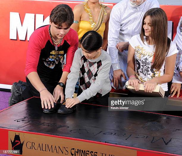 Prince Jackson, Blanket Jackson and Paris Jackson appear at the Michael Jackson Hand and Footprint ceremony at Grauman's Chinese Theatre on January...
