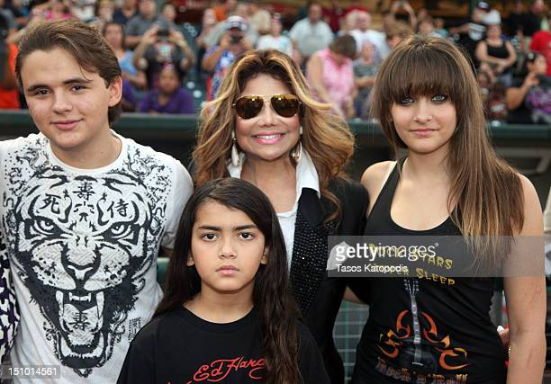 Prince Jackson La Toya Jackson Prince Michael Jackson II and Paris Jackson attend the St Paul Saints Vs The Gary SouthShore RailCats baseball game at...
