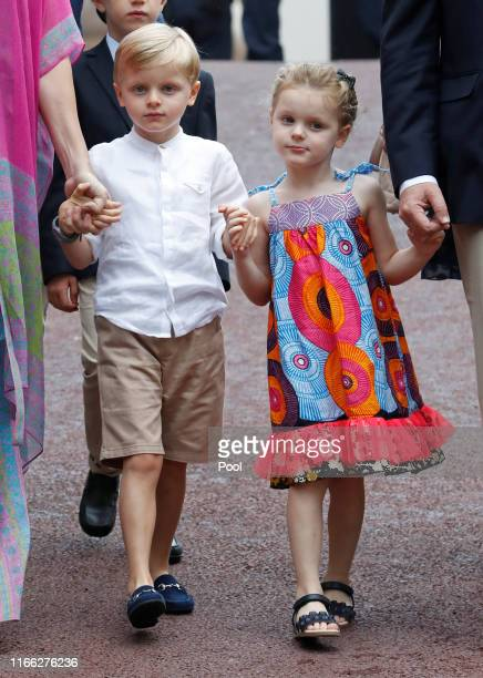 Prince Jacques and Princess Gabriella arrive to take part in the traditional Monaco picnic on September 6, 2019 in Monaco.