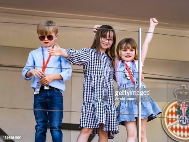 Prince Jacques, HSH Princess Gabriela and Kaia Rose Wittstock attends the ABB FIA Formula E Monaco E-Prix on May 08, 2021 in Monaco, Monaco.