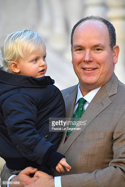 Prince Jacques of Monaco and father Prince Albert II of Monaco attend the annual Christmas gifts distribution at Monaco Palace on December 14 2016 in...