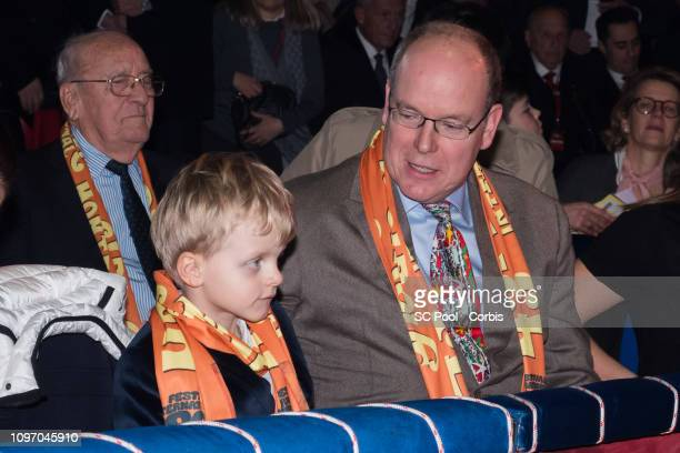 Prince Jacques of Monaco and Prince Albert II of Monaco attend the 43rd International Circus Festival of MonteCarlo on January 20 2019 in Monaco...