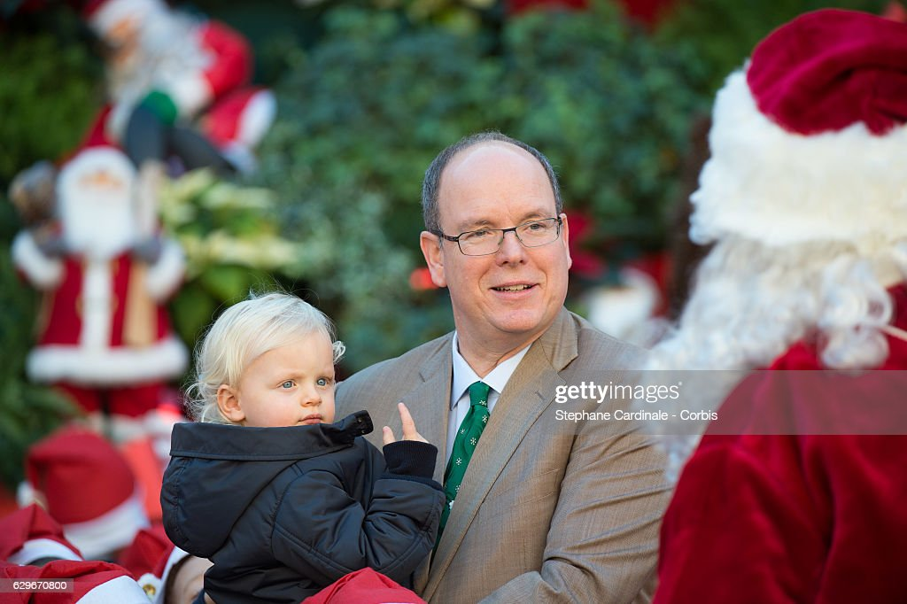 Prince Jacques of Monaco and Prince Albert II of Monaco attend the Christmas Gifts Distribution At Monaco Palace on December 14, 2016 in Monaco, Monaco.