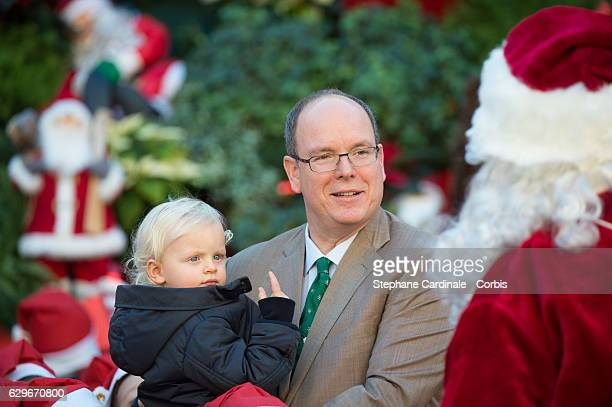 Prince Jacques of Monaco and Prince Albert II of Monaco attend the Christmas Gifts Distribution At Monaco Palace on December 14 2016 in Monaco Monaco