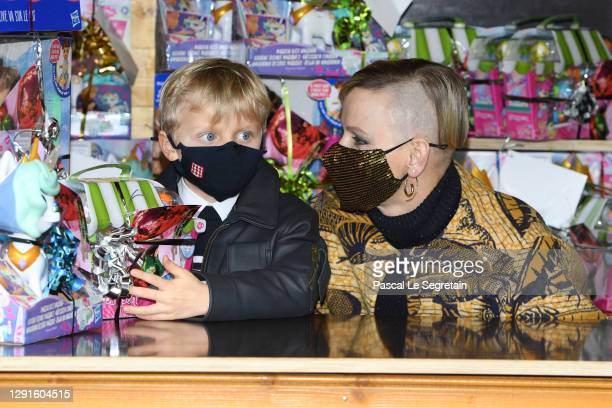 Prince Jacques of Monaco and Princess Charlene of Monaco attend the Christmas gift distribution on December 16, 2020 in Monaco, Monaco.