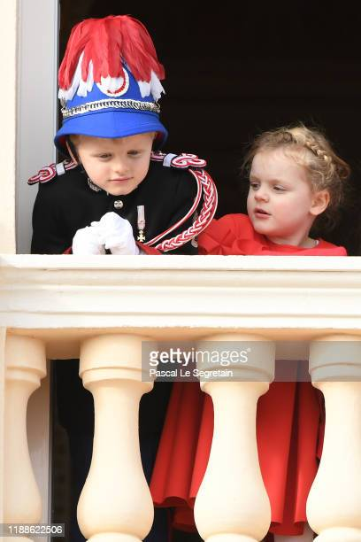 Prince Jacques of Monaco and Princess Gabriela of Monaco attend the Monaco National Day on November 19 2019 in MonteCarlo Monaco