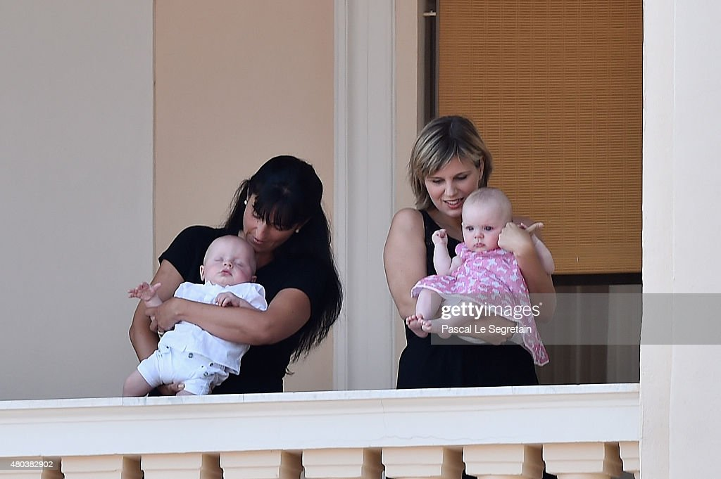 Prince Jacques of Monaco and Princess Gabriella of Monaco appear at the Palace balcony during the First Day of the 10th Anniversary on the Throne Celebrations on July 11, 2015 in Monaco, Monaco.