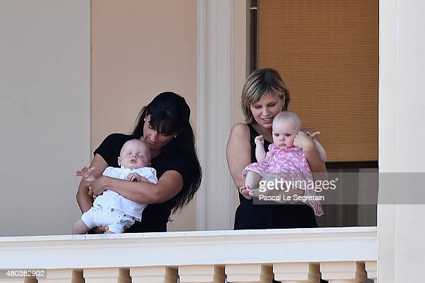 Prince Jacques of Monaco and Princess Gabriella of Monaco appear at the Palace balcony during the First Day of the 10th Anniversary on the Throne...
