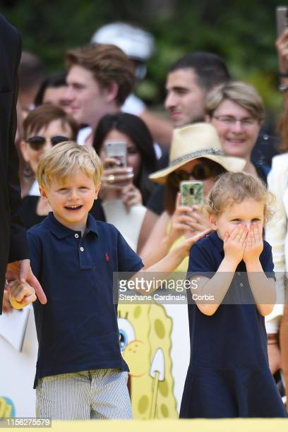 Prince Jacques of Monaco and Princess Gabriella of Monaco arrive at the 20 year anniversary celebration of Sponge Bob Squarepants during the 59th...