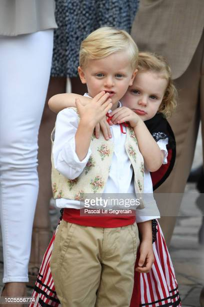 Prince Jacques of Monaco and Princess Gabriella of Monaco attend the Monaco annual picnic on August 31 2018 in Monaco Monaco