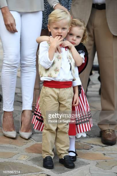 Prince Jacques of Monaco and Princess Gabriella of Monaco attend the Monaco annual picnic on August 31 2018 in Monaco Monaco