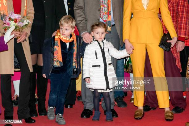 Prince Jacques of Monaco and Princess Gabriella of Monaco attend the 43rd International Circus Festival of MonteCarlo on January 20 2019 in Monaco...