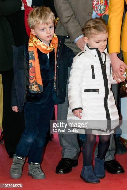 Prince Jacques of Monaco and Princess Gabriella of Monaco attend the 43rd International Circus Festival of MonteCarlo on January 20 2019 in Monaco...