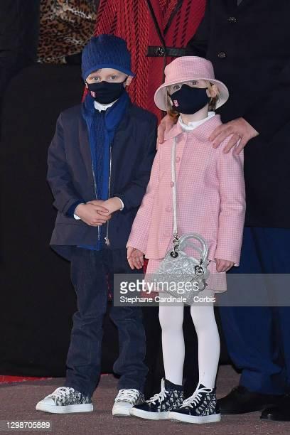 Prince Jacques of Monaco and Princess Gabriella of Monaco attend the Sainte Devote Ceremony on January 26, 2021 in Monaco, Monaco. Sainte devote is...