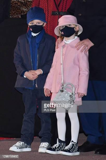 Prince Jacques of Monaco and Princess Gabriella of Monaco attend the ceremony of Sainte-Devote on January 26, 2021 in Monaco, Monaco.