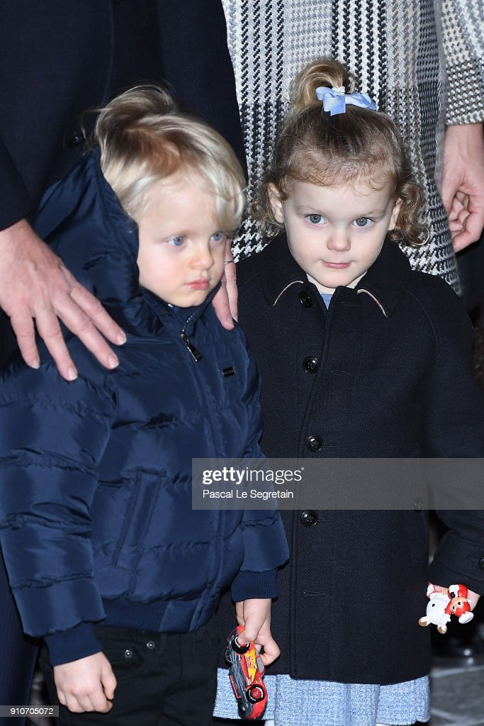 Prince Jacques of Monaco and Princess Gabriella of Monaco attend the ceremony of Sainte-Devote on January 26, 2018 in Monaco, Monaco.
