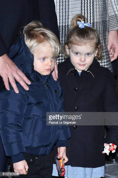 Prince Jacques of Monaco and Princess Gabriella of Monaco attend the ceremony of SainteDevote on January 26 2018 in Monaco Monaco
