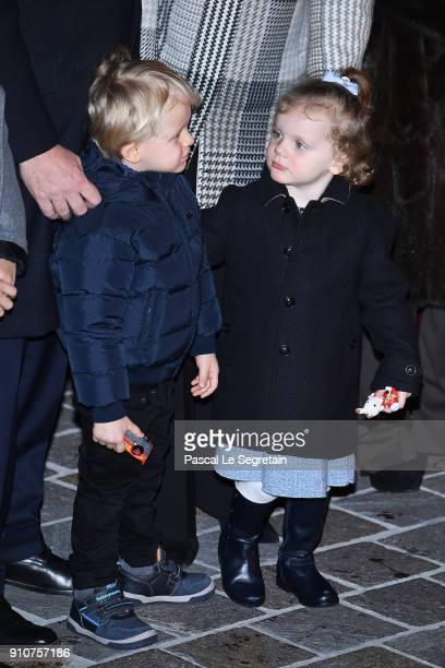 Prince Jacques of Monaco and Princess Gabriella of Monaco attend the ceremony of SainteDevote on January 26 2018 in Monaco Monaco