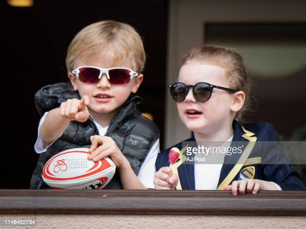 Prince Jacques of Monaco and Princess Gabriella of Monaco attends the Sainte Devote Rugby Tournament at Louis II Stadium on May 11, 2019 in Monaco,...