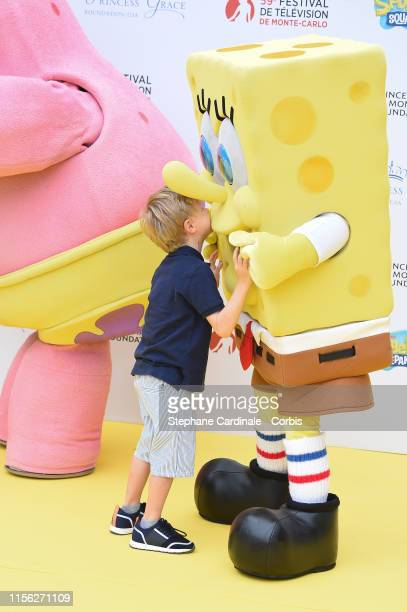 Prince Jacques of Monaco and Sponge Bob Squarepants celebrate the 20 year anniversary of Sponge Bob Squarepants during the 59th Monte Carlo TV...