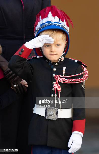 Prince Jacques of Monaco attends the Monaco National day celebrations in the courtyard of the Monaco palace on November 19, 2020 in Monte-Carlo,...