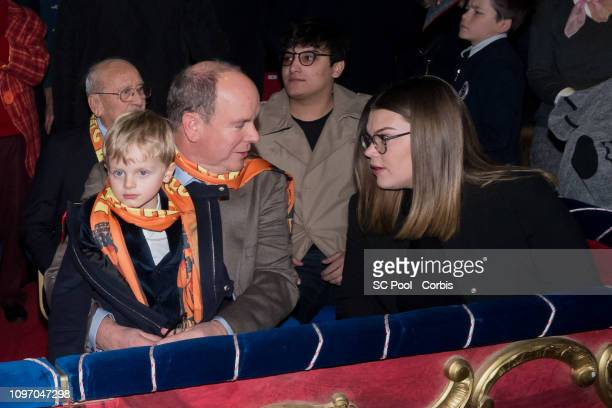 Prince Jacques of Monaco Prince Albert II of Monaco and Camille Gottlieb attend the 43rd International Circus Festival of MonteCarlo on January 20...