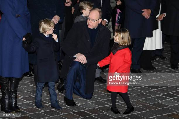 Prince Jacques of Monaco, Prince Albert II of Monaco and Princess Gabriella of Monaco attend the Sainte Devote Ceremony. Sainte devote is the patron...