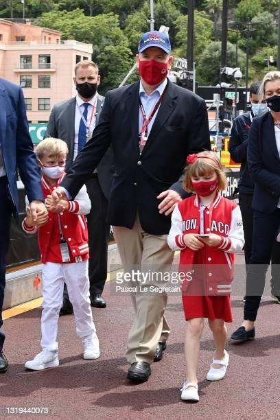 Prince Jacques of Monaco, Prince Albert II of Monaco and Princess Gabriella of Monaco are seen during F1 Grand Prix of Monaco - Practice & Qualifying...