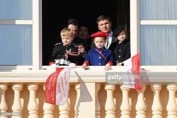 Prince Jacques of Monaco Princess Gabriella of Monaco and KaiaRose Wittstock pose at the Palace balcony during the Monaco National Day Celebrations...