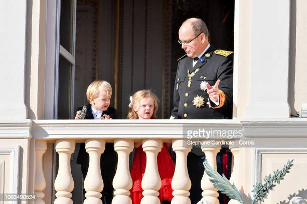 Prince Jacques of Monaco, Princess Gabriella of Monaco and Prince Albert II of Monaco attend Monaco National Day Celebrations on November 19, 2018 in...