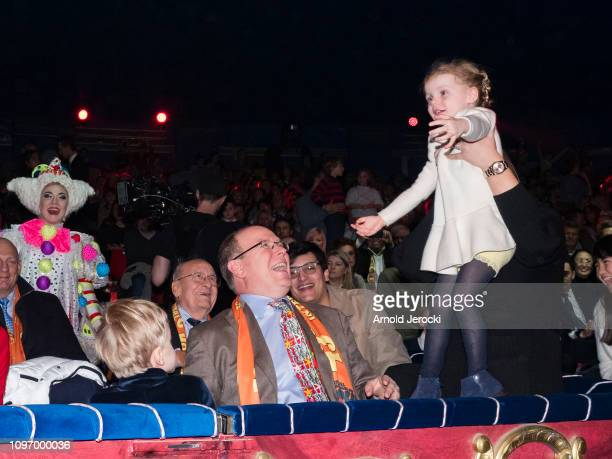 Prince Jacques Prince Albert II of Monaco and Princess Gabriella attend the 43rd International Circus Festival of MonteCarlo on January 20 2019 in...