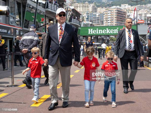 Prince Jacques Prince Albert II of Monaco Kaia Rose Wittstock and Princess Gabriella attends the F1 Grand Prix of Monaco Qualifying on May 25 2019 in...