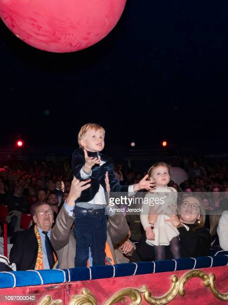 Prince Jacques Princess Gabriella and Camille Gottlieb attend the 43rd International Circus Festival of MonteCarlo on January 20 2019 in Monaco Monaco