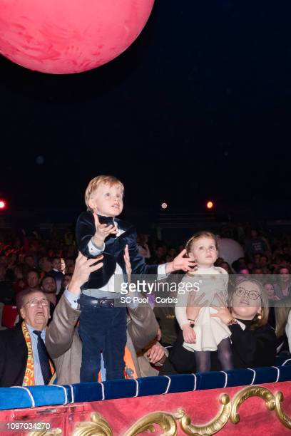 Prince Jacques, Princess Gabriella and Camille Gottlieb attend the 43rd International Circus Festival of Monte-Carlo on January 20, 2019 in Monaco,...