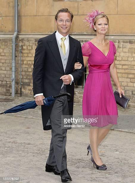 Prince Jaime Bernardo of Bourbon and sister Princess Maria Carolina Christina of BourbonParma attend the religious wedding ceremony of Georg...