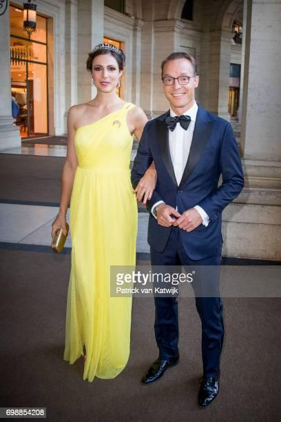 Prince Jaime de Bourbon de Parme and Princess Viktoria de Bourbon de Parme attend the official state banquet presented by President Sergio Mattarella...