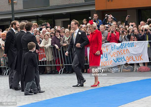 Prince Jaime de Bourbon Parme and Princess Irene arrive for the prince's wedding with Viktoria Cservenyak at The Church Of Our Lady At Ascension on...
