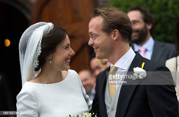 Prince Jaime de Bourbon Parme and Viktoria Cservenyak leave The Church Of Our Lady At Ascension after their wedding on October 5, 2013 in Apeldoorn,...
