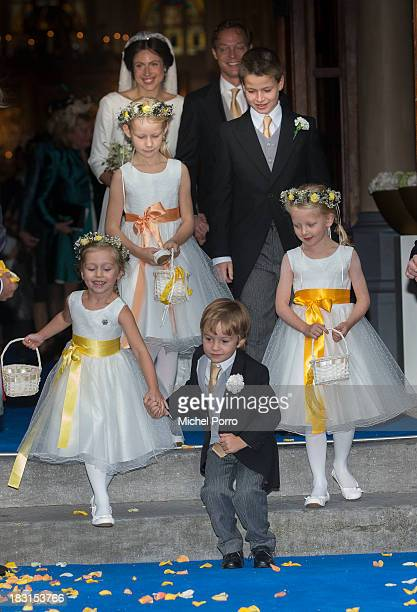 Prince Jaime de Bourbon Parme, Viktoria Cservenyak and Princess Zaria leave the Church Of Our Lady At Ascension after their wedding on October 5,...