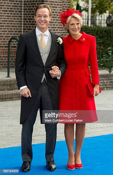 Prince Jaime with Princess Irene of the Netherlands arriving for his Wedding to Viktoria Cservenyak at The Church Of Our Lady At Ascension on October...