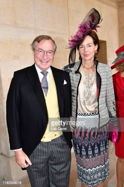Prince Jean de Luxembourg and Diane de Guerre attend the Wedding of Prince JeanChristophe Napoleon and Olympia Von ArcoZinneberg at Les Invalides on...
