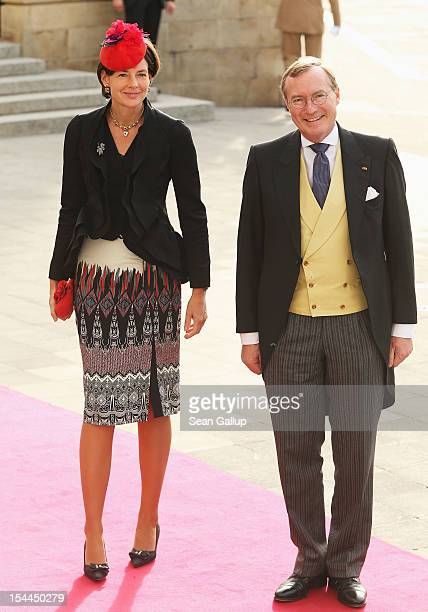 Prince Jean of Luxembourg and Countess Diane of Nassau attend the wedding ceremony of Prince Guillaume Of Luxembourg and Princess Stephanie of...